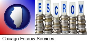 Chicago, Illinois - the concept of escrow, with coins