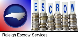 Raleigh, North Carolina - the concept of escrow, with coins