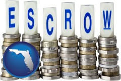 fl the concept of escrow, with coins