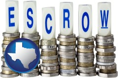 Texas - the concept of escrow, with coins